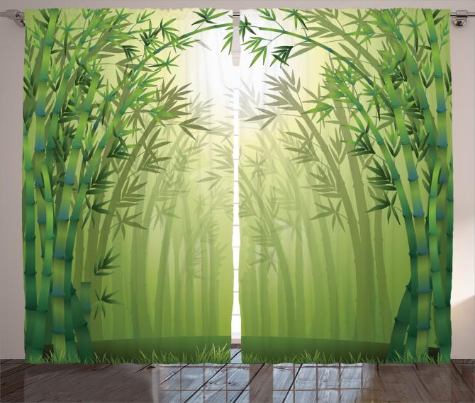 Bambu Ormanı Desenli Fon Perde Sarı Yeşil
