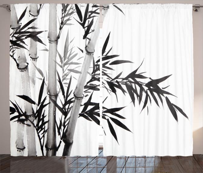 Siyah Beyaz Bambu Fon Perde Şık
