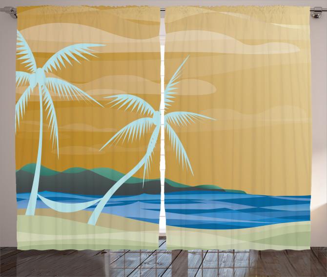 Palmiye ve Kumsal Fon Perde Modern