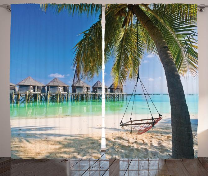 Deniz ve Palmiye Temalı Fon Perde Egzotik