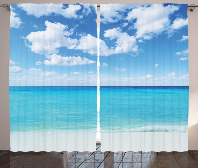 Tropikal Deniz Kenarı Fon Perde Tropikal Deniz Kenarı Bulutlar