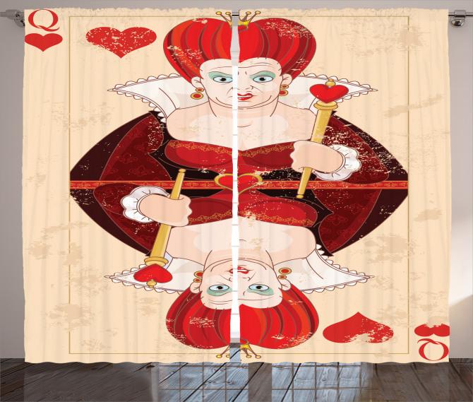 İskambil Kağıdı Desenli Fon Perde Kırmızı