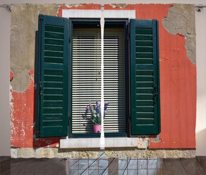 Çiçekli Pencere Temalı Fon Perde Ahşap Bina