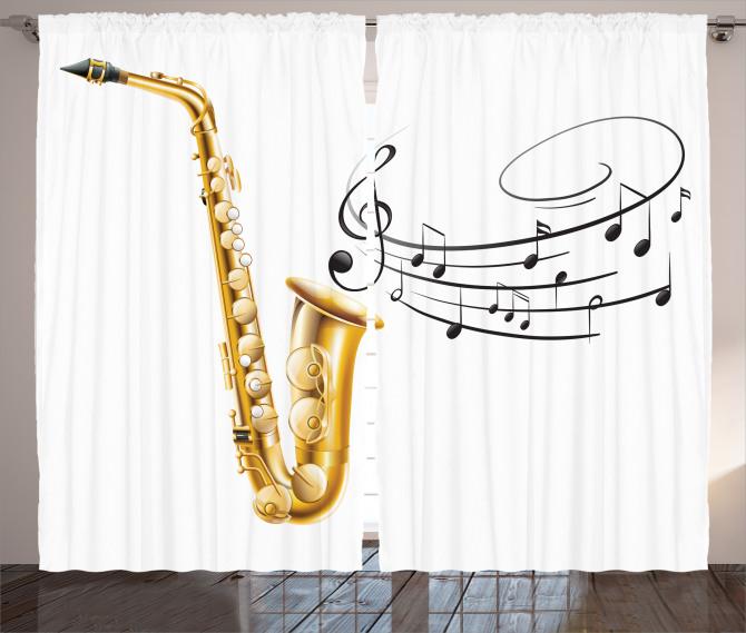 Müzik Temalı Fon Perde Nota Saksafon Beyaz