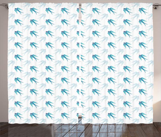 Mavi Kuş Desenli Fon Perde Şık Tasarım Beyaz