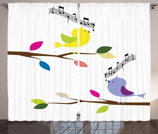Şarkı Söyleyen Kuş Fon Perde Trend