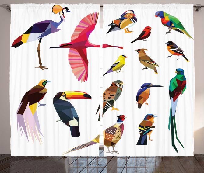 Rengarenk Kuşlar Temalı Fon Perde Çeyizlik