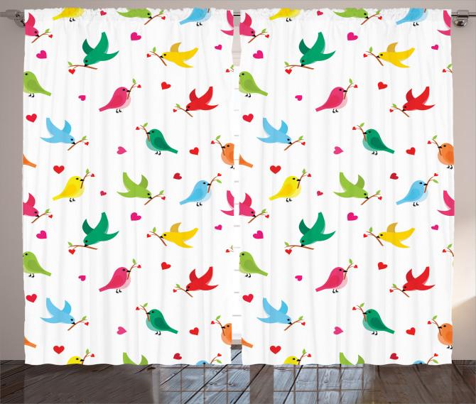 Kalp ve Kuş Desenli Fon Perde Rengarenk Şık