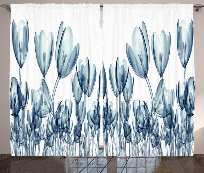 Dekoratif Lale Desenli Fon Perde 3D Çiçek
