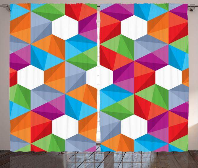 Geometrik Desenli Fon Perde Modern Tasarım