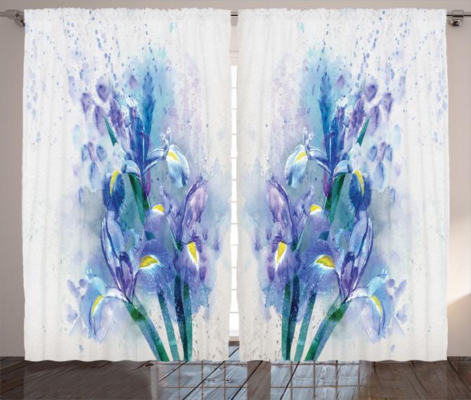 Sulu Boya Çiçek Desenli Fon Perde Mavi Mor