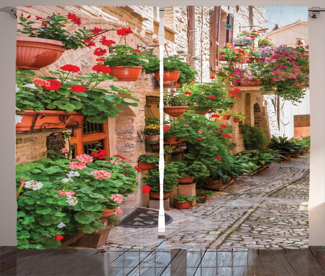 Taş Ev ve Çiçek Temalı Fon Perde Nostaljik