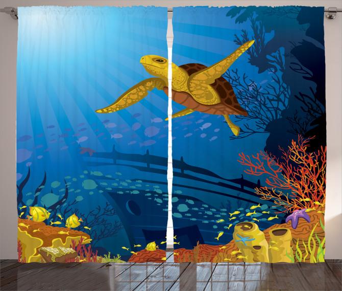 Gemi ve Kaplumbağa Fon Perde Deniz