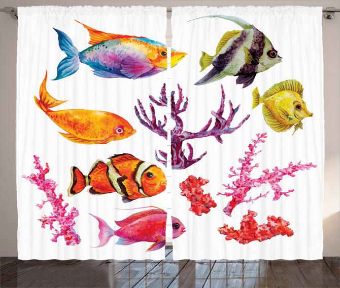 Balıklar ve Mercan Fon Perde Beyaz