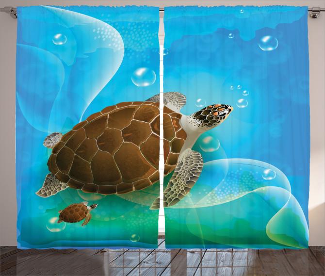 Deniz Kaplumbağası Fon Perde Mavi