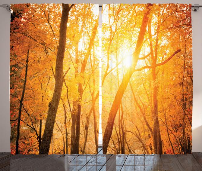 Güneş ve Ağaç Temalı Fon Perde Sarı Turuncu