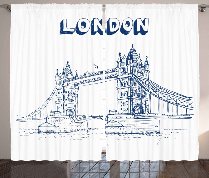 Nostaljik Köprü Desenli Fon Perde Londra