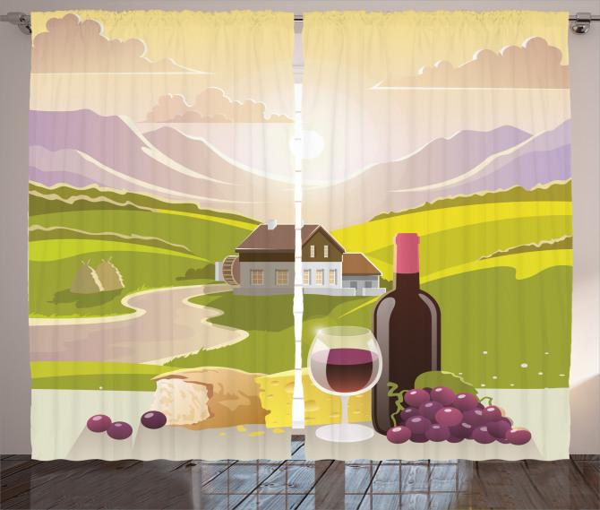 Şarap ve Dağ Manzaralı Fon Perde Yeşil Mor
