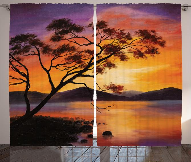 Ağaç Göl ve Dağ Desenli Fon Perde Mor Sarı