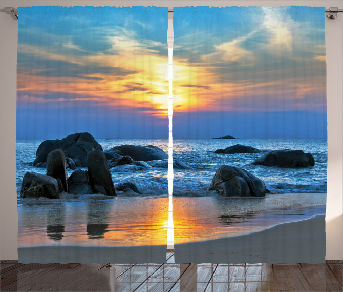 Güneş ve Kayalık Sahil Fon Perde Mavi