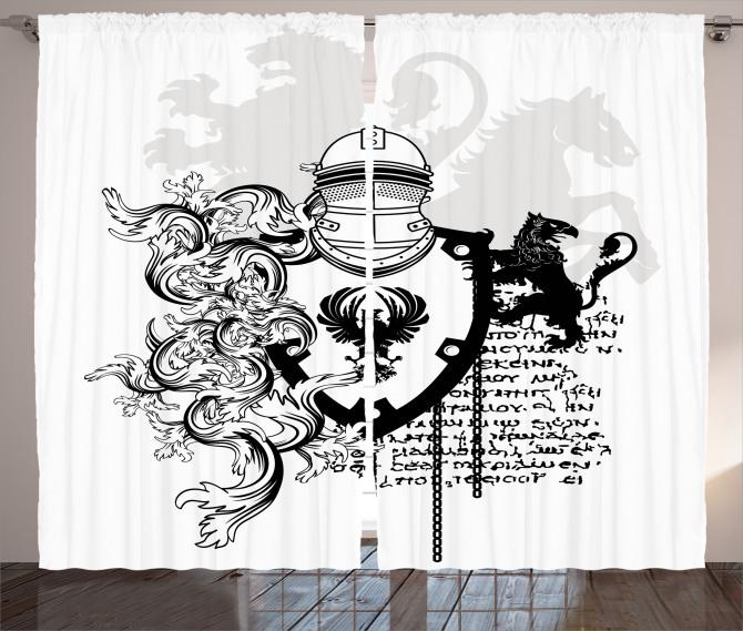 Antik Şövalye Desenli Fon Perde Siyah Beyaz