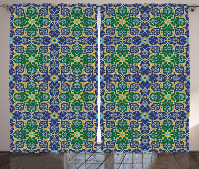 Geometrik Şal Desenli Fon Perde Yeşil Mavi