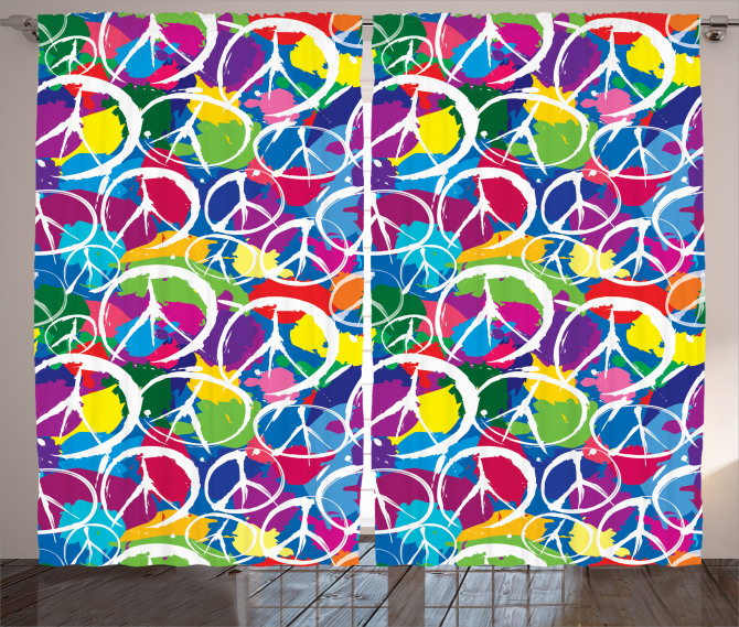 Rengarenk Barış Desenli Fon Perde Dekoratif