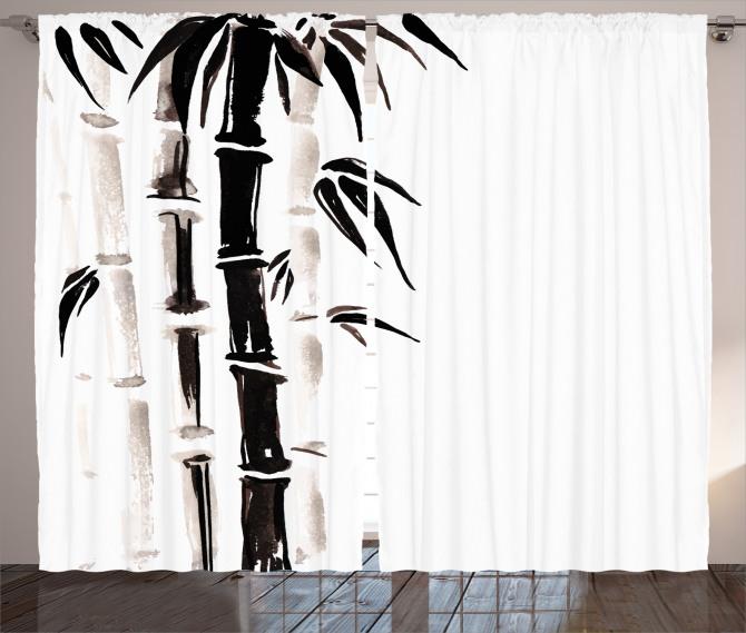 Siyah Beyaz Bambu Fon Perde Trend