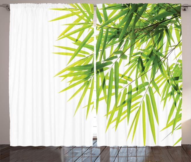 Bambu Yaprağı Desenli Fon Perde Yeşil Beyaz