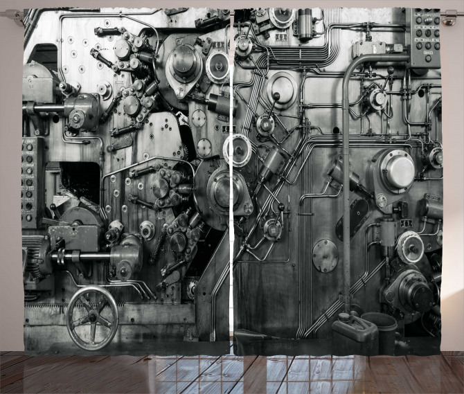 Fabrika Temalı Fon Perde Antik Siyah Beyaz