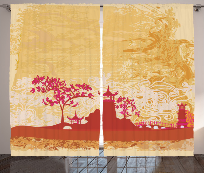 Gün Batımı Temalı Fon Perde Japon Sarı Şık
