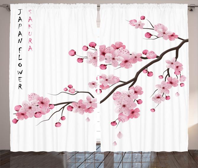 Pembe Kiraz Çiçekleri Fon Perde Şık