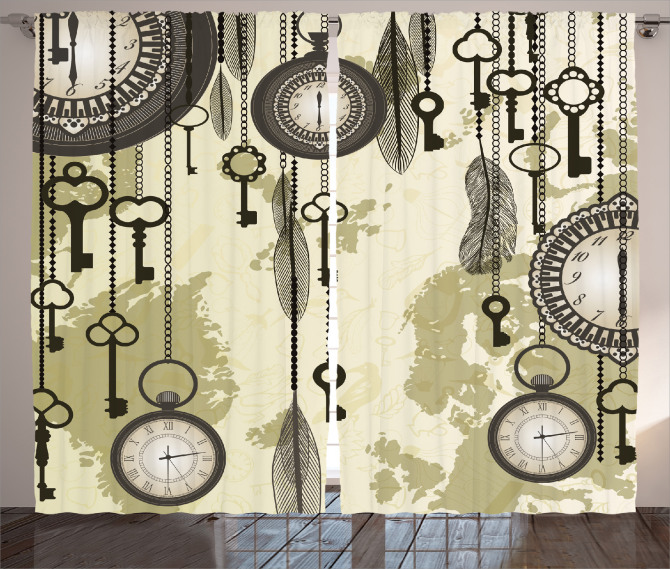 Saat ve Anahtar Temalı Fon Perde Bej Antika