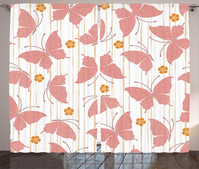 Pembe Kelebek Desenli Fon Perde Japon Etkili
