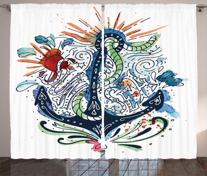 Çapa Desenli Fon Perde Sulu Boya Etkili Mavi