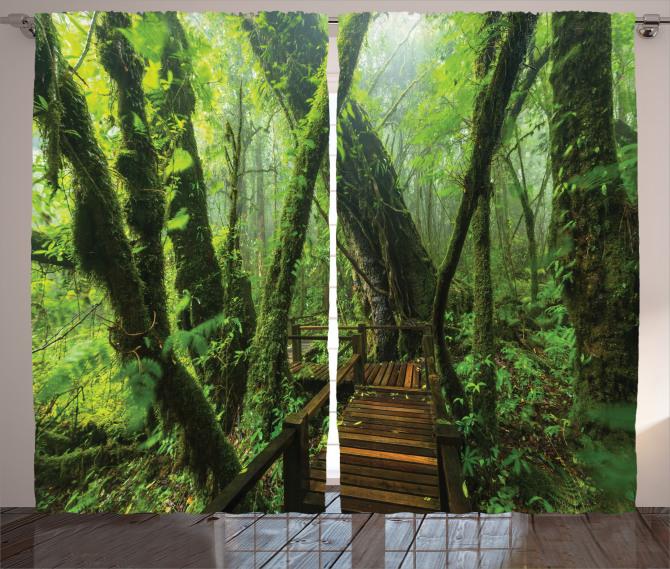 Vahşi Doğa Temalı Fon Perde Orman Yeşil Ağaç