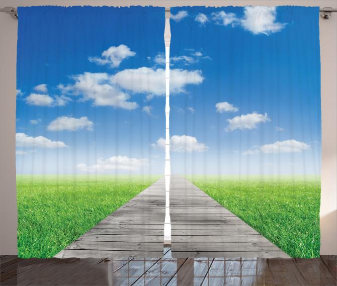 Yeşil Çayır Manzaralı Fon Perde Mavi Gökyüzü