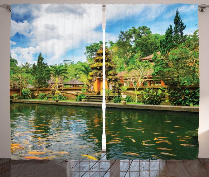 Tapınak Manzaralı Fon Perde Yeşil Ağaç Balık