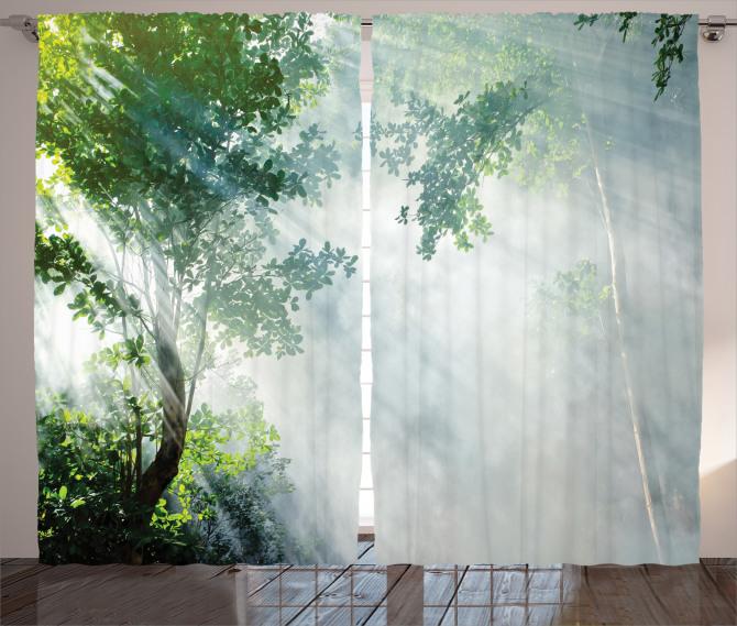 Sisli Orman Temalı Fon Perde Gri Yeşil Doğa