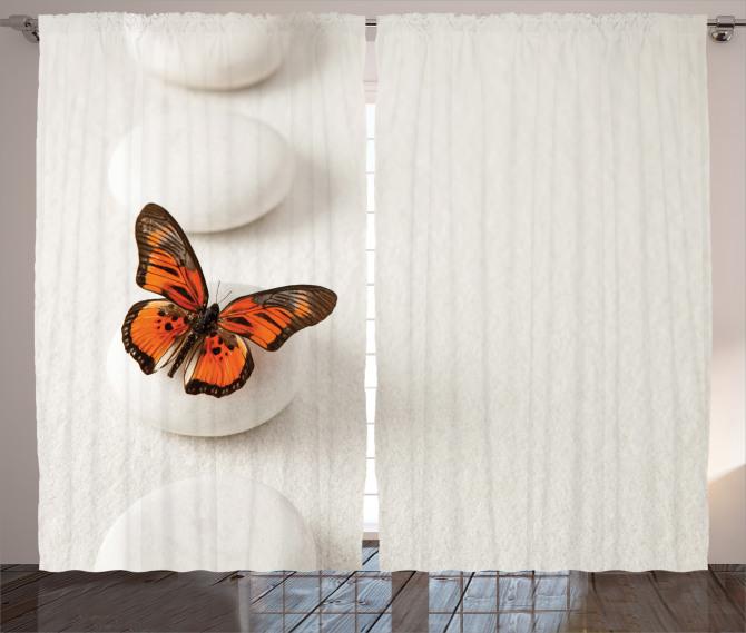 Taş ve Kelebek Desenli Fon Perde Beyaz Şık Tasarım