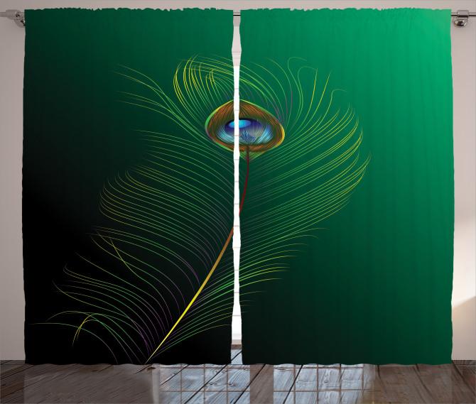 Kuş Tüyü Desenli Fon Perde Yeşil Mavi Şık Tasarım