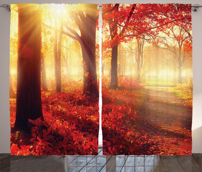 Sonbahar Temalı Fon Perde Kırmızı Yaprak Ağaç