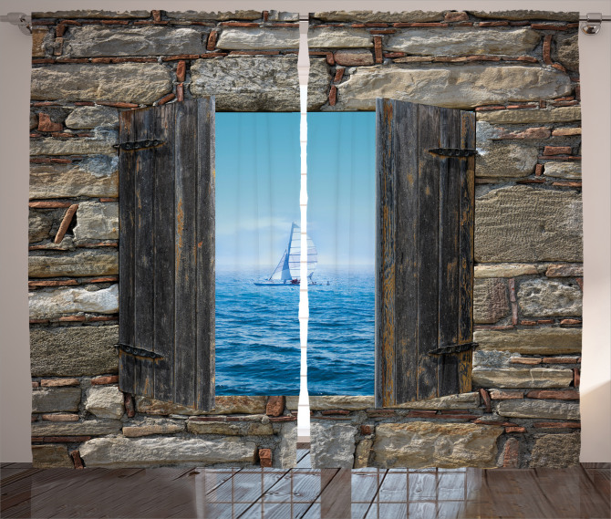 Ahşap Pencere Temalı Fon Perde Deniz Kahverengi