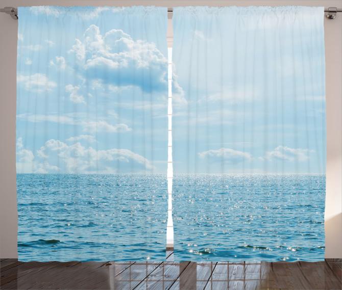 Deniz Bulut Manzaralı Fon Perde Mavi Gökyüzü
