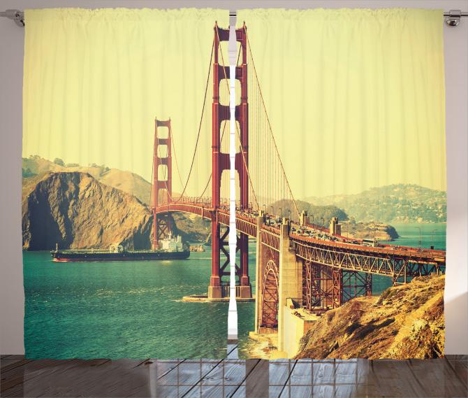 Kırmızı Köprü ve Gemi Fon Perde Nostaljik