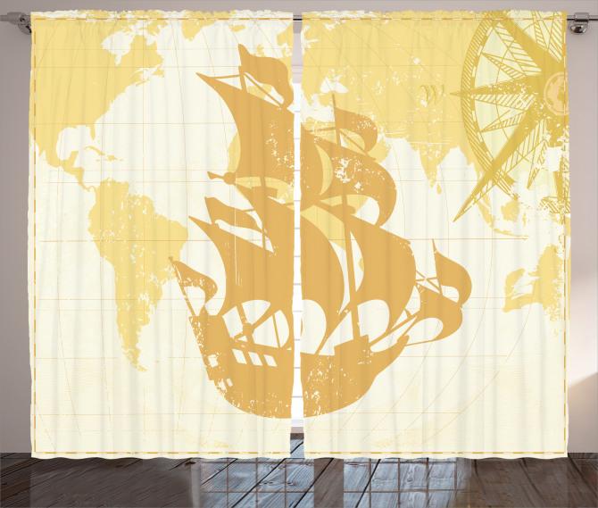 Yelkenli Gemi ve Pusula Fon Perde Bej