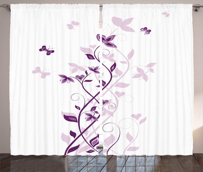 Şık Çiçek ve Kelebek Fon Perde Menekşe Çiçeği Desenli Bahar Temalı