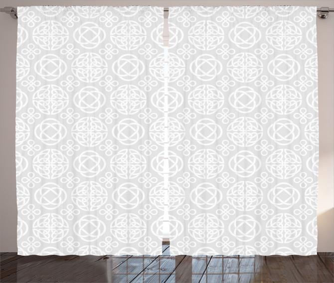 Beyaz Geometrik Desenli Fon Perde Gri Arka Planlı