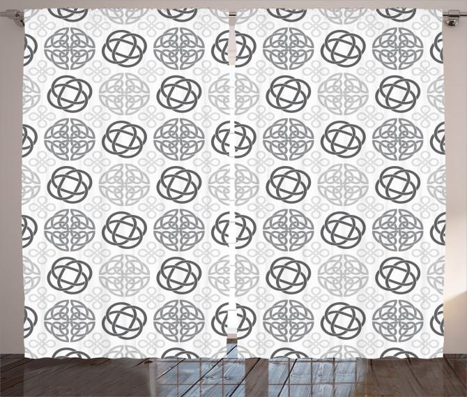Gri Geometrik Desenli Fon Perde Beyaz Arka Planlı
