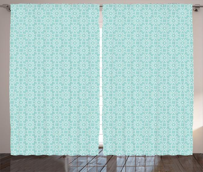 Geometrik Çiçek Desenli Fon Perde Mavi ve Beyaz